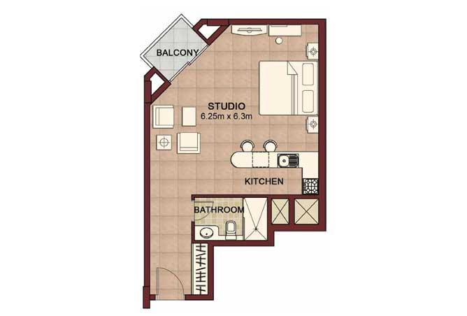Ansam Floor Plan Studio Apartment Type b 568 Sqft 4