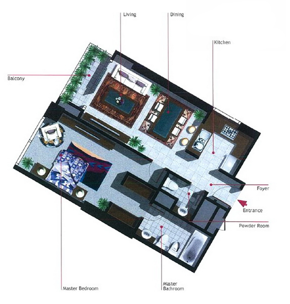 Burooj Views Floor Plan 1 Bedroom Apartment Type A