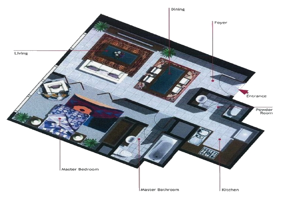 Burooj Views Floor Plan 1 Bedroom Apartment Type C