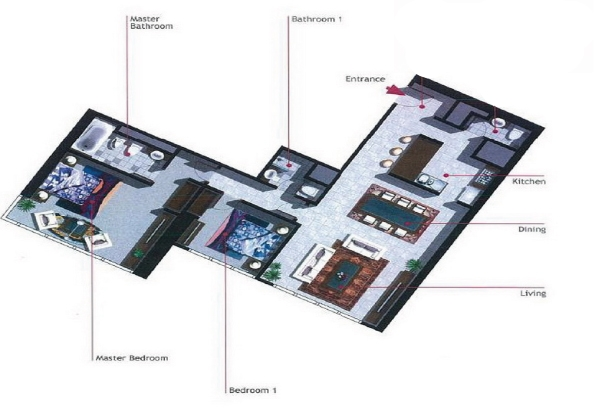 Burooj Views Floor Plan 2 Bedroom Apartment Type D