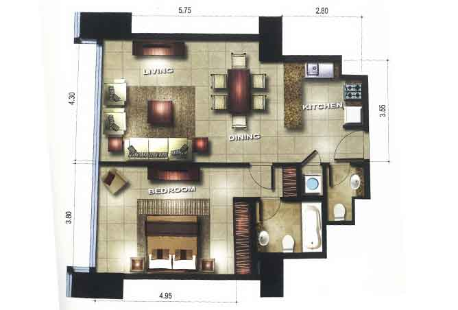 Gate Tower 1 Floor Plan 1 Bedroom Apartment 753 Sqft
