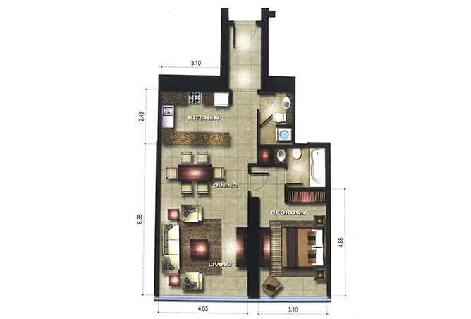 Gate Tower 1 Floor Plan 1 Bedroom Apartment 828 Sqft