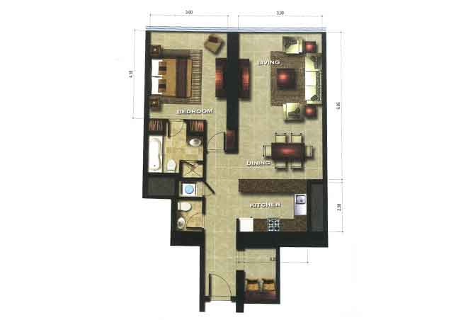 Gate Tower 1 Floor Plan 1 Bedroom Apartment 947 Sqft