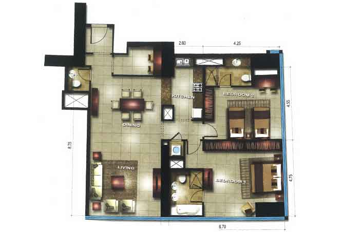 Gate Tower 1 Floor Plan 2 Bedroom Apartment 1399 Sqft