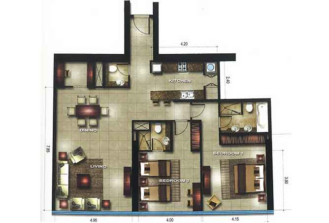 Gate Tower 1 Floor Plan 2 Bedroom Apartment 1442 Sqft