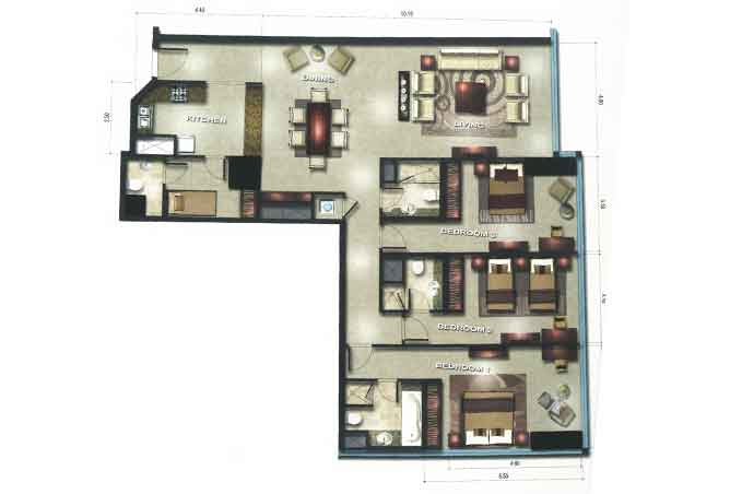 Gate Tower 1 Floor Plan 3 Bedroom Apartment 1883 Sqft
