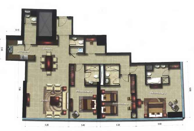Gate Tower 1 Floor Plan 3 Bedroom Apartment 2120 Sqft