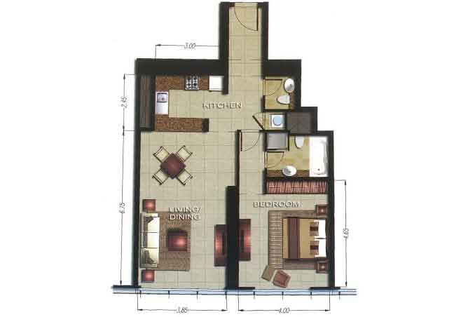 Gate Tower 2 Floor Plan 1 Bedroom Apartment 874 Sqft