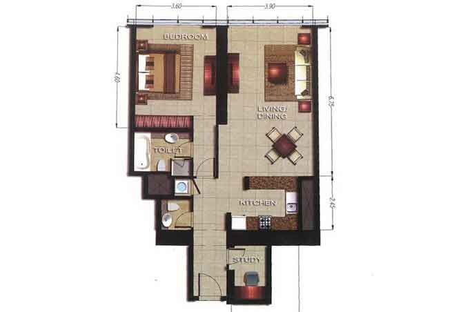 Gate Tower 2 Floor Plan 1 Bedroom Apartment 947 Sqft