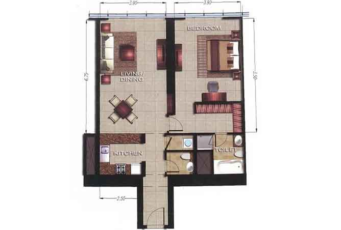 Gate Tower 2 Floor Plan 1 Bedroom Apartment 949 Sqft