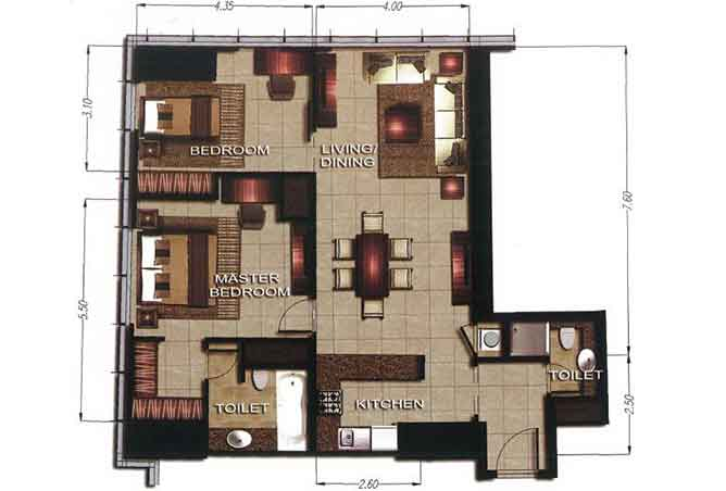 Gate Tower 2 Floor Plan 2 Bedroom Apartment 1072 Sqft