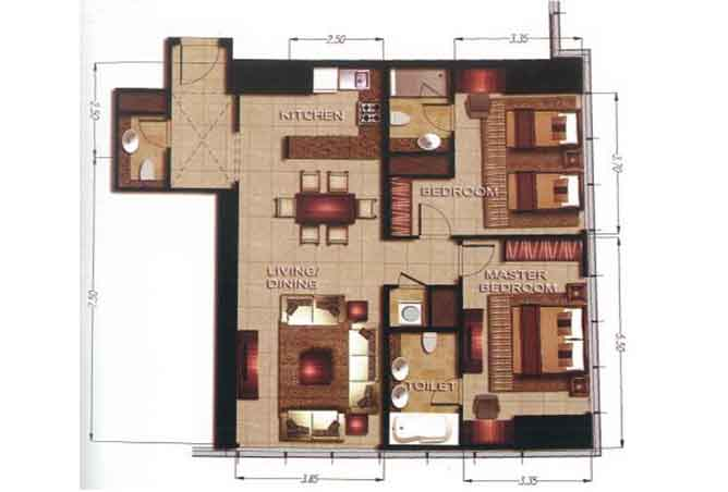 Gate Tower 2 Floor Plan 2 Bedroom Apartment 1152 Sqft