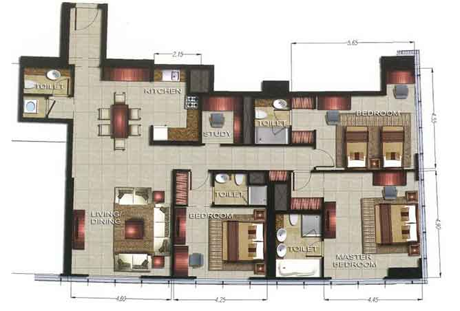 Gate Tower 2 Floor Plan 3 Bedroom Apartment 1670 Sqft