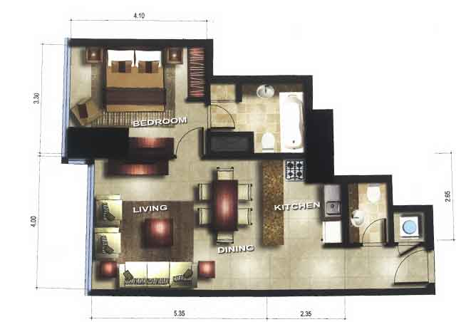 Gate Tower 3 Floor Plan 1 Bedroom Apartment 656 Sqft