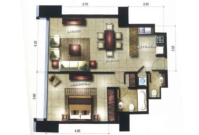 Gate Tower 3 Floor Plan 1 Bedroom Apartment 753 Sqft