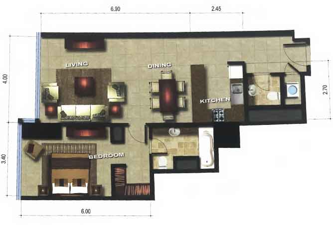 Gate Tower 3 Floor Plan 1 Bedroom Apartment 828 Sqft Type A