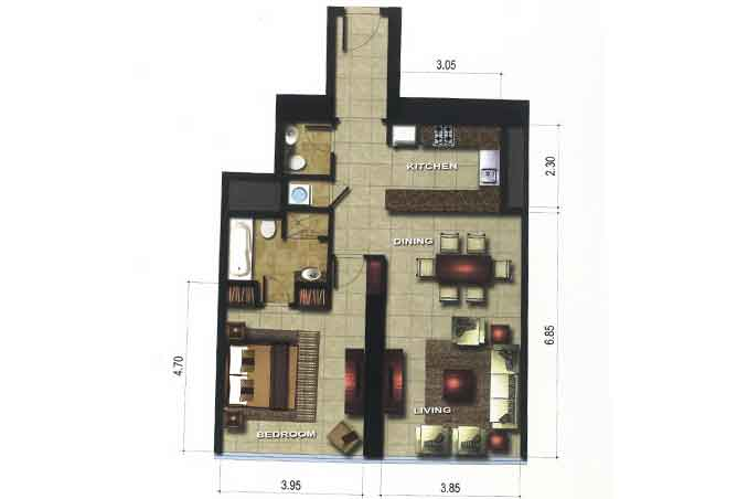 Gate Tower 3 Floor Plan 1 Bedroom Apartment 893 Sqft