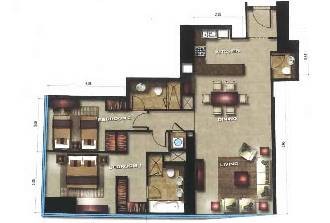 Gate Tower 3 Floor Plan 2 Bedroom Apartment 1291 Sqft