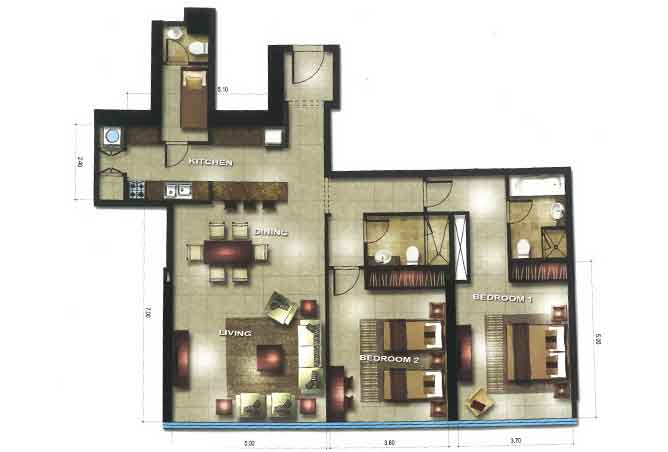 Gate Tower 3 Floor Plan 2 Bedroom Apartment 1420 Sqft
