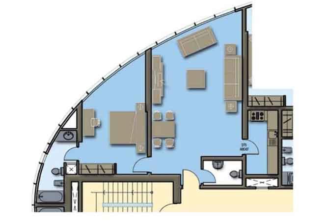 Hydra Avenue Floor Plan 1 Bedroom Apartment 944 Sqft C4 C5 Type 1