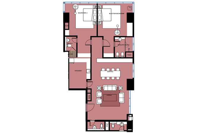 Mag 5 Residences Floor Plan 2 Bedroom Apartment