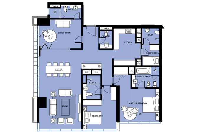 Mag 5 Residences Floor Plan 2 Plus 1 Bedroom Apartment