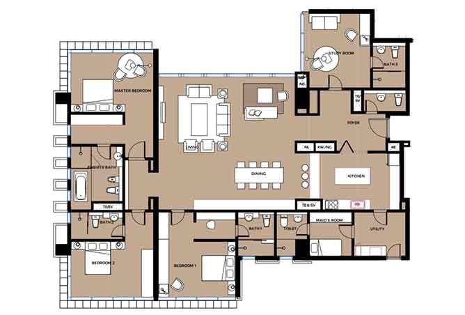 Mag 5 Residences Floor Plan 3 Plus 1 Bedroom Apartment