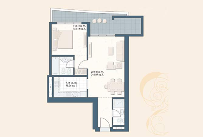 Mangrove Place Floor Plan 1 Bedroom Apartment a 1 828