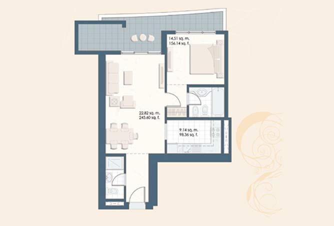Mangrove Place Floor Plan 1 Bedroom Apartment a 2 888