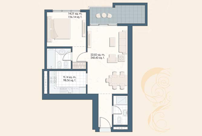 Mangrove Place Floor Plan 1 Bedroom Apartment a 762