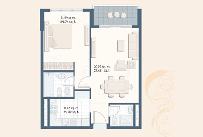 Mangrove Place Floor Plan 1 Bedroom Apartment b 1 793