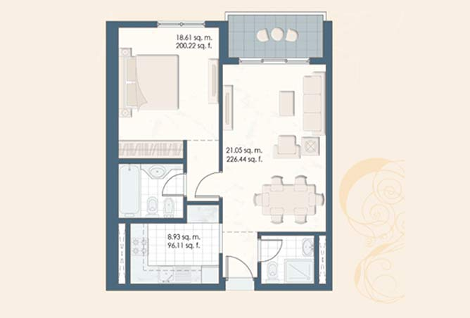 Mangrove Place Floor Plan 1 Bedroom Apartment b 702