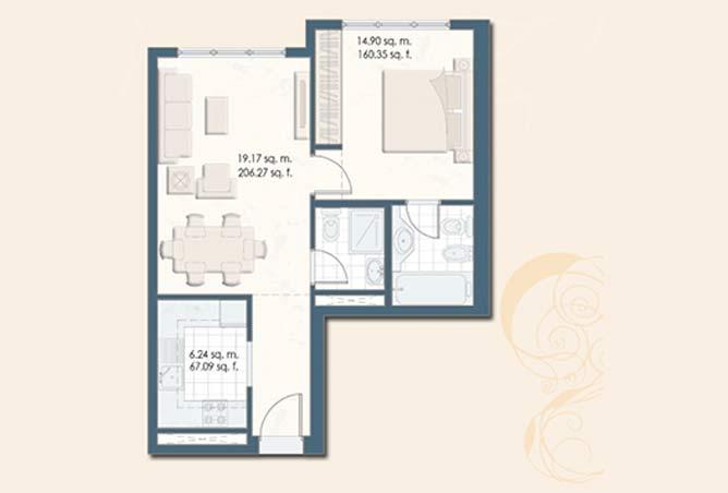 Mangrove Place Floor Plan 1 Bedroom Apartment f 604