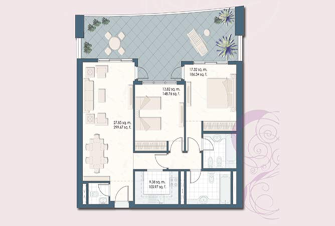 Mangrove Place Floor Plan 2 Bedroom Apartment a 4 1385