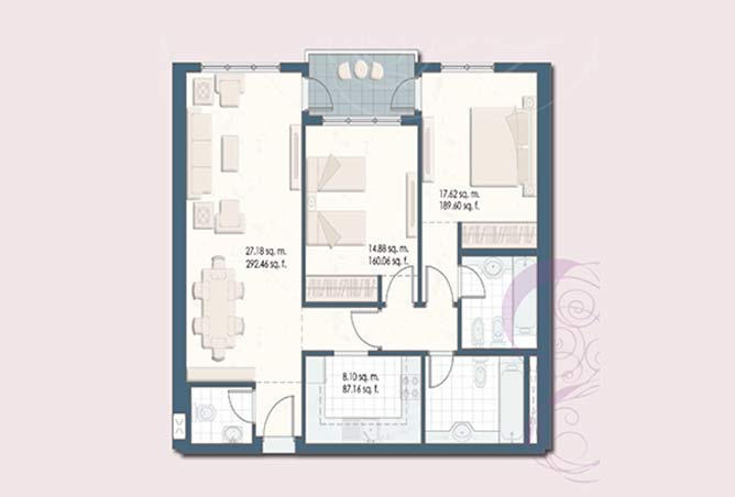 Mangrove Place Floor Plan 2 Bedroom Apartment a 5 1053