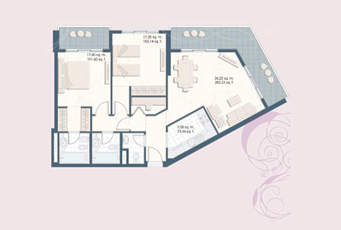 Mangrove Place Floor Plan 2 Bedroom Apartment d 1198