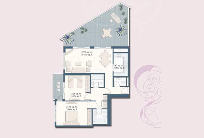 Mangrove Place Floor Plan 2 Bedroom Apartment i 1516