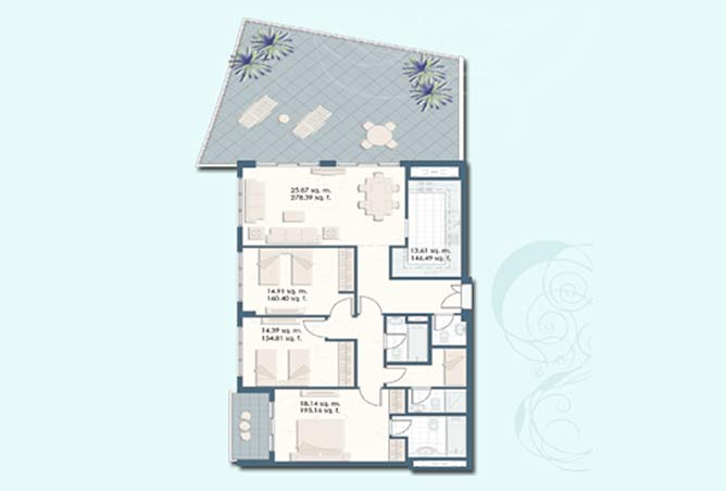 Mangrove Place Floor Plan 3 Bedroom Apartment a 1 1683