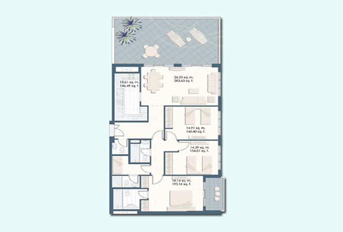 Mangrove Place Floor Plan 3 Bedroom Apartment a 2 1805