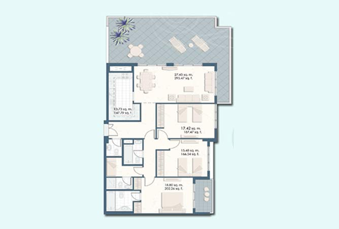 Mangrove Place Floor Plan 3 Bedroom Apartment a 3 1997