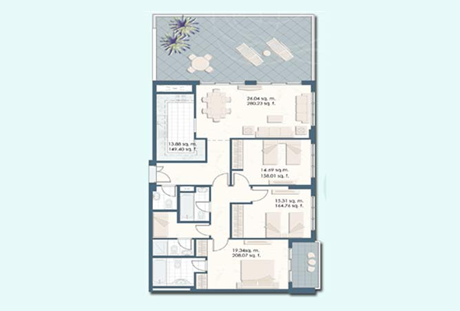 Mangrove Place Floor Plan 3 Bedroom Apartment a 6 1828