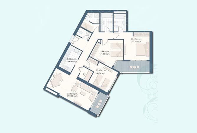 Mangrove Place Floor Plan 3 Bedroom Apartment b 1563