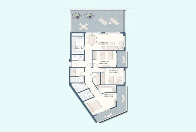 Mangrove Place Floor Plan 3 Bedroom Apartment d 1968