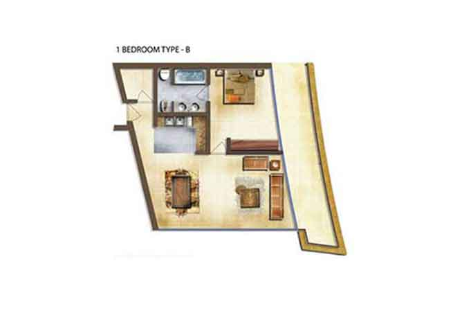 Marina Bay Floor Plan 1 Bedroom Apartment Type b