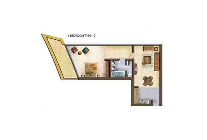 Marina Bay Floor Plan 1 Bedroom Apartment Type c
