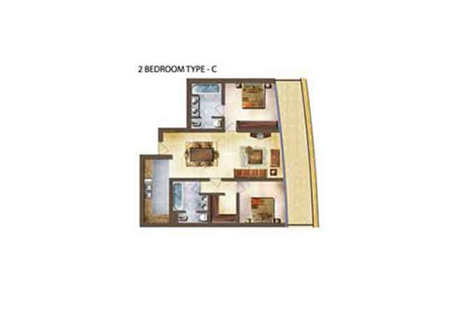 Marina Bay Floor Plan 2 Bedroom Apartment Type c