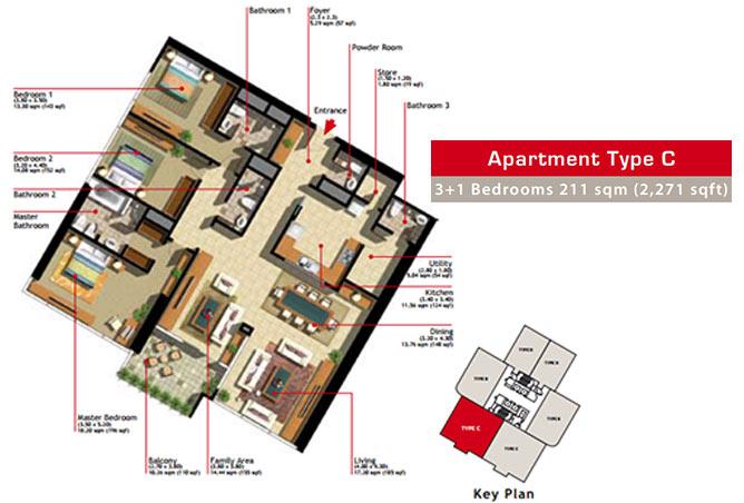 Marina Heights Floor Plan 3 Plus 1 Bedroom Apartment Type C