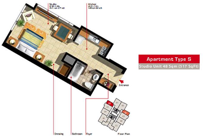 Marina Heights Floor Plan Studio Apartment Type S