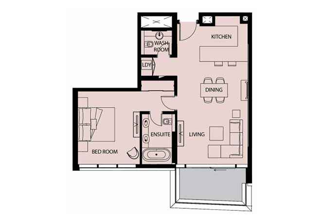 Mayan Floor Plan 1 Bedroom Apartment Type 1a 929 Sqft 1