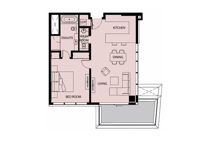Mayan Floor Plan 1 Bedroom Apartment Type 1c 1 936 Sqft 1